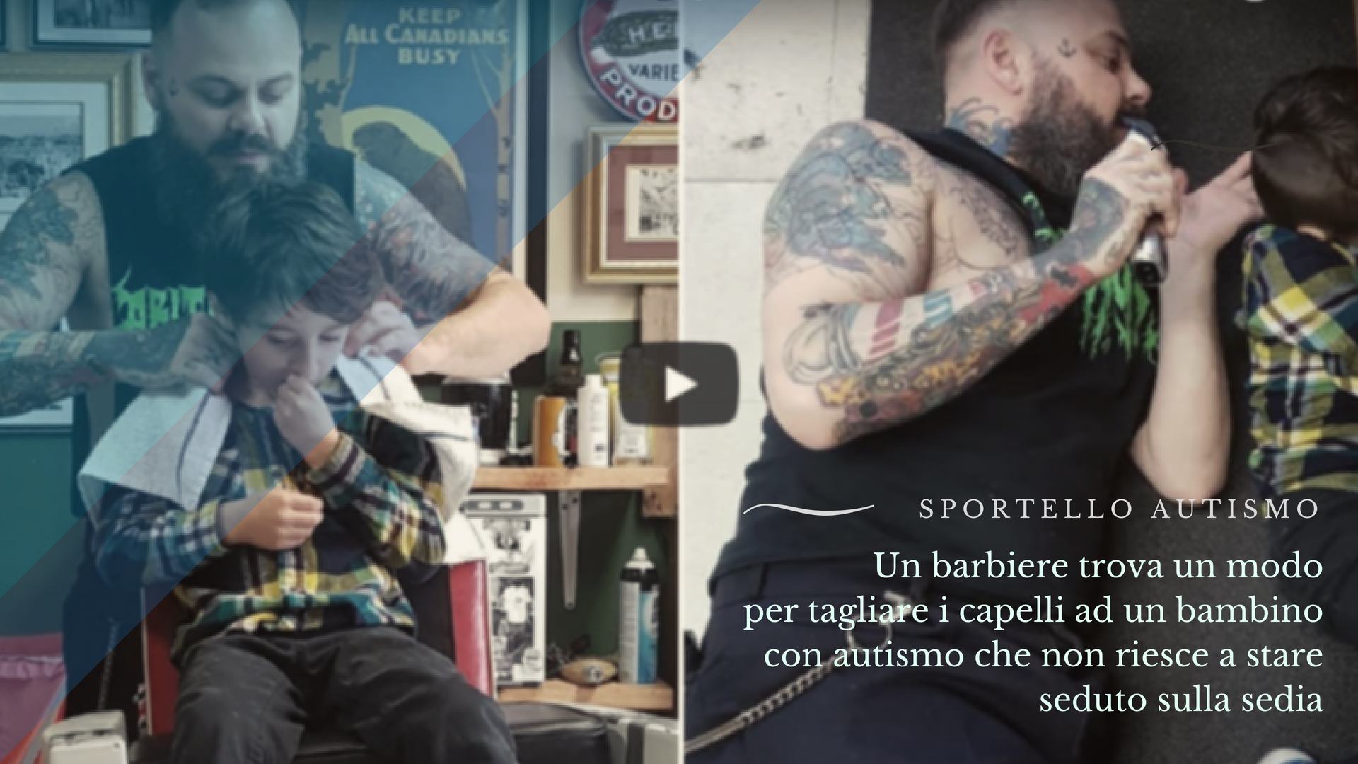 barbiere taglia capelli a bambino con autismo